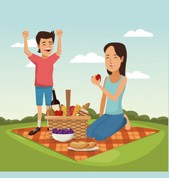 Color scene landscape of picnic basket woman with vector