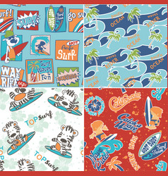 cute surf seamless pattern collection vector image vector image