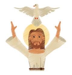 drawing jesus christ holy spirit design vector image vector image