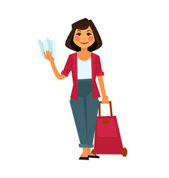 Female tourist holding travelling bag and map on vector