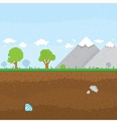Pixel art mountain location vector image vector image