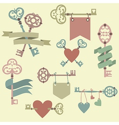set with vintage keys ribbons and hearts Can be vector image vector image