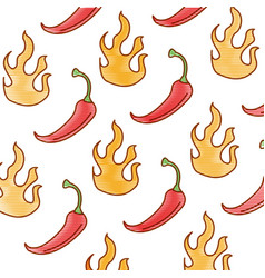 spicy chile vegetable with flames pattern vector image vector image