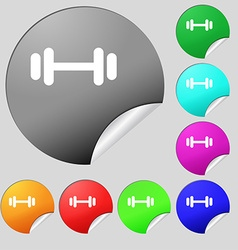 barbell icon sign Set of eight multi colored round vector image vector image