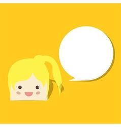 cartoon doodle girl witch speech bubble vector image vector image