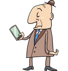 elder man with smart phone vector image vector image