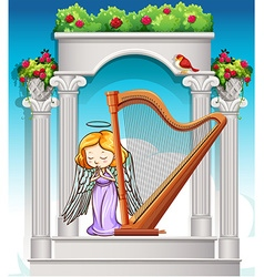 Fairy playing harp in heaven vector image