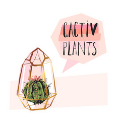 hand drawn abstract succulent plant vector image vector image