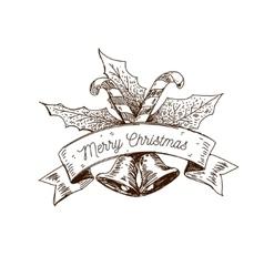hand drawn christmas logo vector image vector image