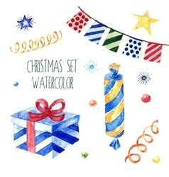 Watercolor christmas cute collection vector image vector image