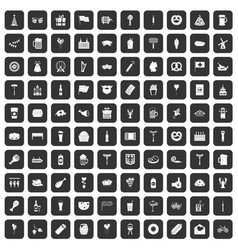 100 beer party icons set black vector