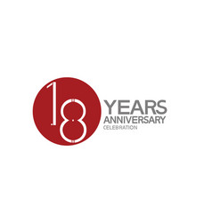 18 years anniversary logotype design with big red vector
