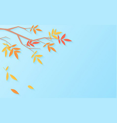 autumn sale background with tree branch with vector image