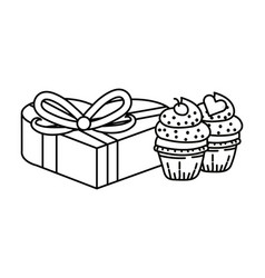 bakery cupcakes cartoon vector image