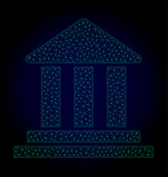 bank building polygonal frame mesh vector image