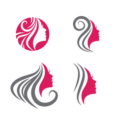 Beauty woman face logo set vector