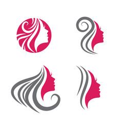 beauty woman face logo set vector image