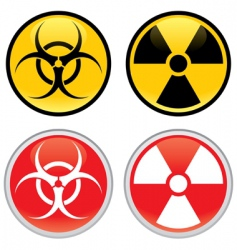 Biohazard and radioactive warning signs vector