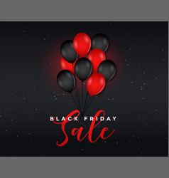 black friday sale poster with flying balloons vector image