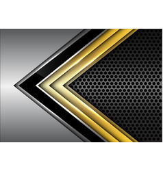 black gold arrow line on metal dark circle mesh vector image