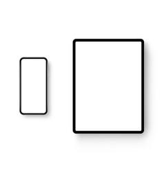 black tablet computer and smartphone mockups vector image