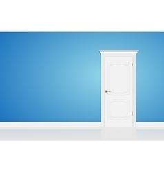 Blue abstract 3D geometrical design door in vector image