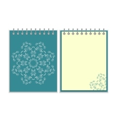 Blue cover notebook with round ornate star pattern vector