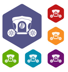 Brougham icons set hexagon vector