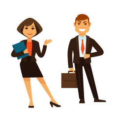 Businesswoman with folder and businessman with vector