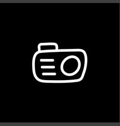 camera line icon on black background black flat vector image