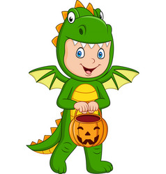 Cartoon kid with halloween dragon costume holding vector