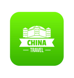 china building icon green vector image