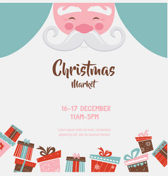 christmas market poster with santa and presents vector image