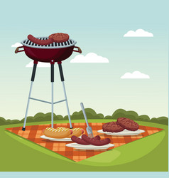 color scene landscape of tablecloth picnic and vector image