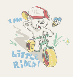 Cool little bear in cap on bicycle cartoon hand vector