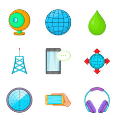 Cordless equipment icons set cartoon style vector