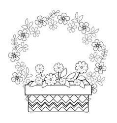 cute flowers and leafs in pot with crown vector image