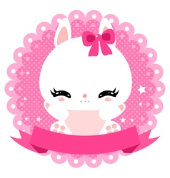 Cute little bunny on a gentle pink background vector