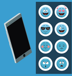 Emojis smartphone chat icons vector