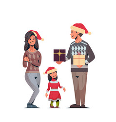 family in santa hats holding gift present boxes vector image