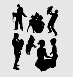 family playing happiness silhouette vector image