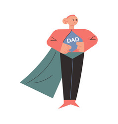 Father in superhero costume standing and showing vector
