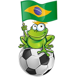 Frog cartoon with soccer ball vector