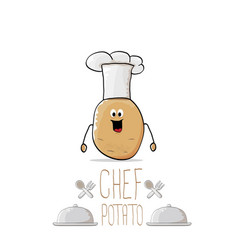 Funny cartoon cute brown chef potato with vector