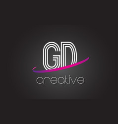 gd g d letter logo with lines design and purple vector image
