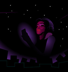 girl woman using smartphone in the darkness vector image