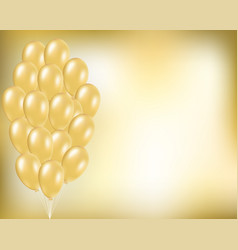 gold festive background with balloons vector image