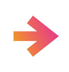 gradient orange to pink isolated arrow flat icon vector image