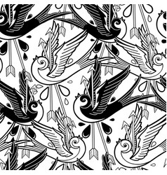 graphic swallows pierced by two arrows vector image