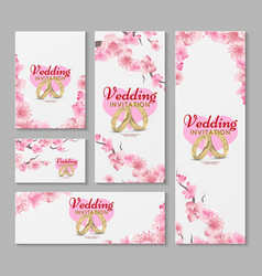 Greeting and wedding invitation cards with vector